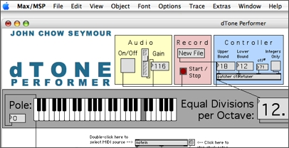 Screenshot of part of the dTone Max/MSP patch